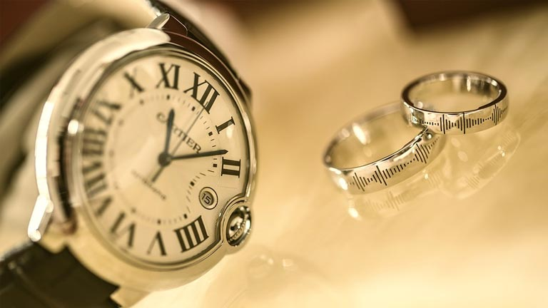 Watch and pair of silver rings